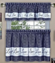 "3 pc Curtains Set: 2 Tiers & Valance(58""x 14"") LIVE LAUGH LOVE, Navy Blu... - $19.79"
