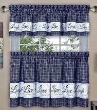 """3 pc Curtains Set: 2 Tiers & Valance(58""""x 14"""") LIVE LAUGH LOVE, Navy Blue, Achim - $19.79"""