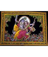 "Lord Krishna & Goddess Radha Sequin Sitara Batik 43"" X 30"" Tapestry Post... - $18.80"
