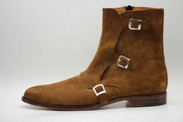 Handmade Men's Brown Suede High Ankle Monk Strap Zipper Boots image 6