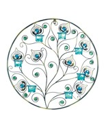 "PEACOCK PLUMES Circular Candle Sconce 23"" Wall Decor Blue Green - $33.99"