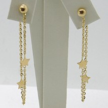 18K YELLOW GOLD PENDANT EARRINGS, ROLO CHAIN UNDER THE EARLOBE, DOUBLE STAR image 1