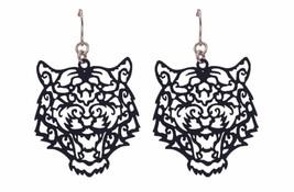 "Ornate Tiger Dangle Earrings 1.5"" Long Navy Blue Tigers - $14.84"