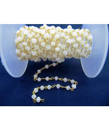 Natural White Agate 3-4 MM Rosary Beaded Gold Plated Chain For Jewelry - $15.32+
