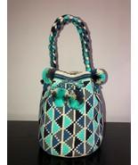 Authentic 100% Wayuu Mochila Colombian Bag Large Sz Braided Blue Grey Sh... - $90.00