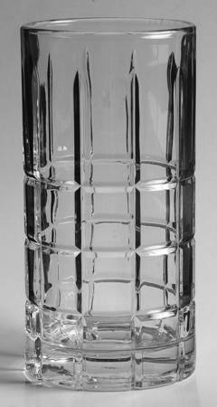 "Anchor Hocking 6"" Tall Clear Glass Tumbler Manchester/Tartan Pattern Heavy, Soli"