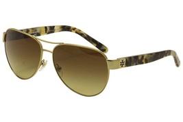 Tory Burch TY6051 Womens Gold Frame Brown Lens Aviator Sunglasses - £76.65 GBP