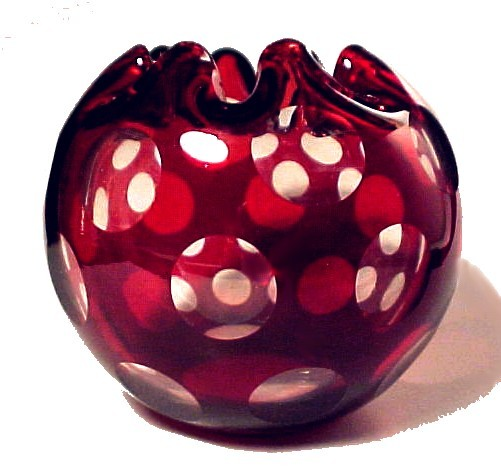 16000a ruby red cut to clear punty rose bowl vase victorian cased art glass antique