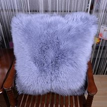 HUAHOO Sheepskin Pillow Gray Gray Fur Throw Pillow Case Cushion Cover 20... - $89.99