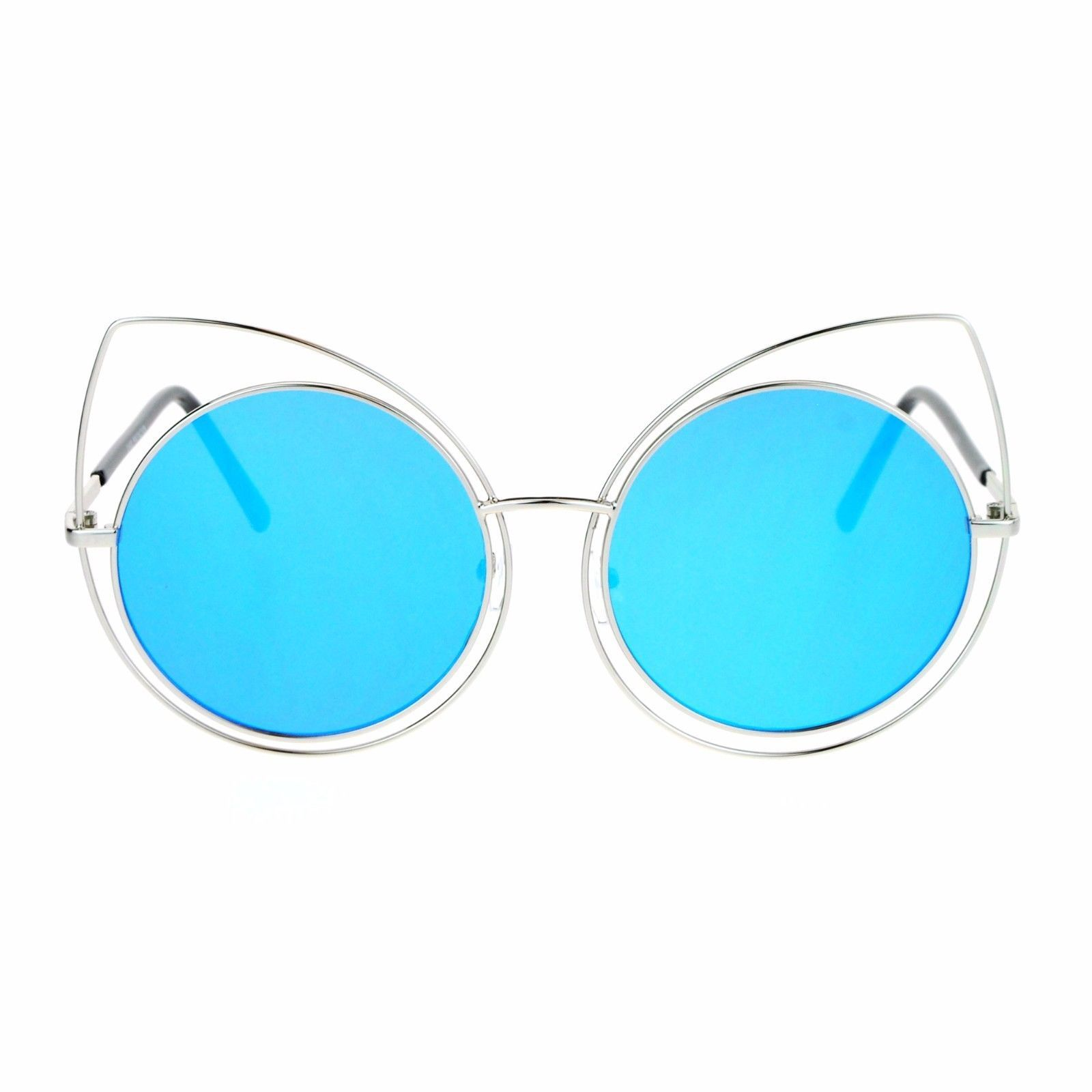 Womens Sunglasses Oversized Round Circle Cateye Double Frame Mirror Lens