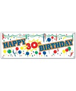 Happy 30th Birthday Sign Banner Party Accessory - New / Sealed - $9.11