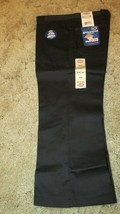 "DICKIES Girl's Junior Black School Uniform Capri Sz 7 Boot Cut 32"" x  22"" - $14.80"