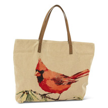 Cardinal Tote Bag Leather Straps & Brass Studs-Lined w Zipper Closure & Pocket
