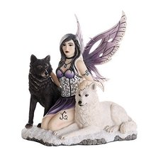 Companion Fairy Ebondy and Ivory Wolves Fairy Collectible Decorative Statue 11H - $92.06