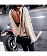 BerryGo Sexy backless cross knitted sweater Women turtleneck batwing sle... - $44.94