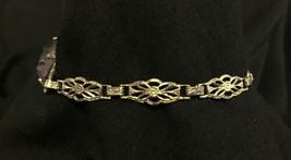Antique Vtg Art Deco 12k GF Gold Filled Fancy Link Chain Purple Stone Bracelet image 2