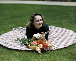 Olivia De Havilland Lying on Grass with Flowers 1940's Rare 16x20 Canvas - $69.99