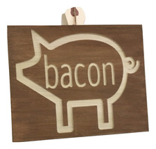 Handmade solid wood engraved pig sign. - $25.00