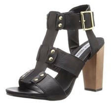 Women's Shoes Steve Madden NEVILE Dress Chunky Heel Sandal Leather Black - $67.49