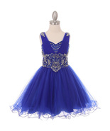 Royal Blue Rhinestone Bodice with Corset Back Style Formal Flower Girl D... - $114.99+