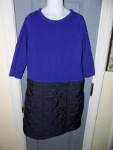 CREWCUTS Black/Blue Long Sleeve Dress Size 8/10 Girl's EUC MEASUREMENTS ... - $25.74