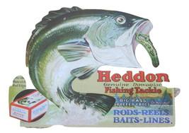 Heddon Fishing Tackle METAL TIN SIGN trophy bas... - $14.75