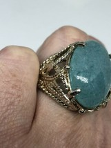 Vintage Green Jade Ring 925 Sterling Silver Size 6 - $106.92