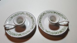 Pair Vintage MIKASA CANDLE TAPER HOLDER Fine China JAPAN G 9059 White w/... - $14.69