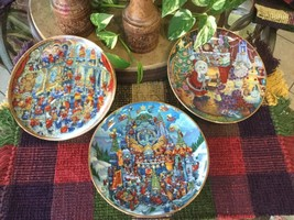 3 Bill Bell Ltd Ed. Numbered Fine Porcelain Holiday Cat Theme Collectible Plates - $44.55