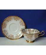 Vintage ROYAL ALBERT Gold Feather Leaf Footed TEA CUP & SAUCER #4040 EUC - $24.73