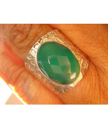 37.45CARAT STERLING SILVER ANTIQUE EMERALD GREEN ONYX RING HAMMERED 1960... - $0.00