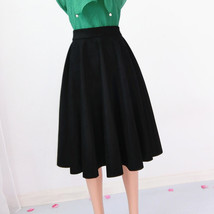 Women SUEDE Circle Skirt Autumn Winter SUEDE Midi Party Skirt, Camel Black Green image 10