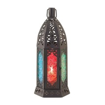 #10015246 *ROSETTE MULTI-COLOR GLASS DARK METAL CANDLE LANTERN* - $17.86