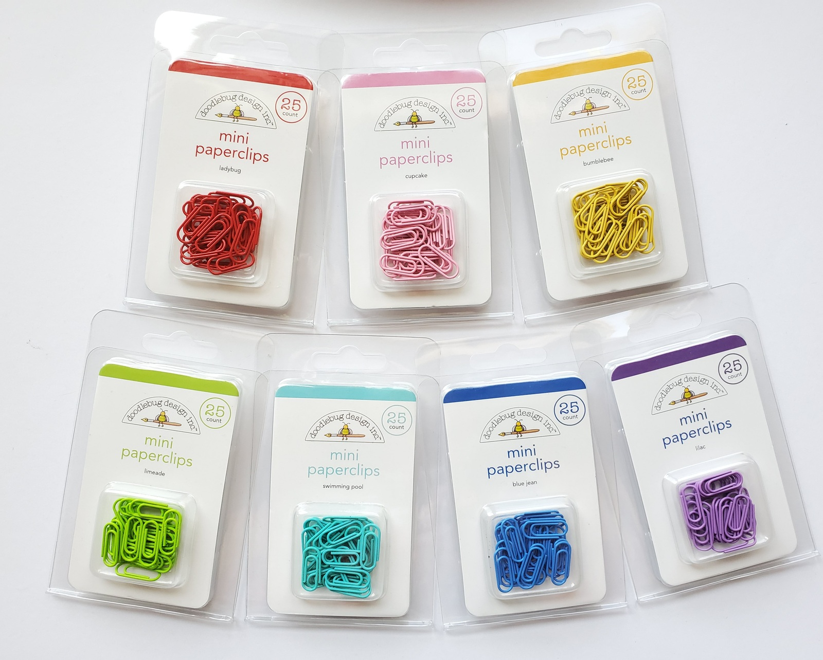 MINI Paperclips. 25 Pack.  Choose Color. Doodlebug Designs