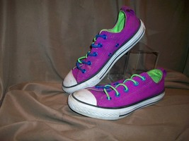 *USED* *WORN* CONVERSE ALL STAR JUNIORS SIZE 1 CANVAS SHOES PURPLE - $22.76