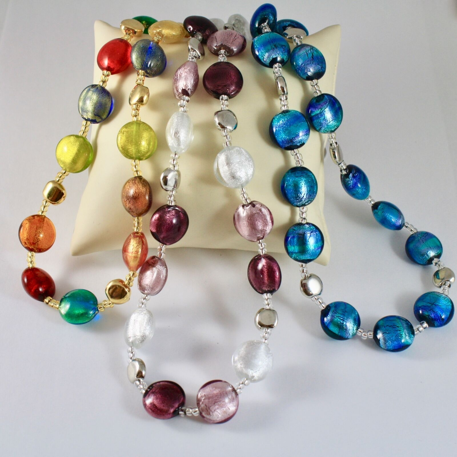 Necklace Antica Murrina Venezia, Various Colours with Murano Glass, Wire Discs
