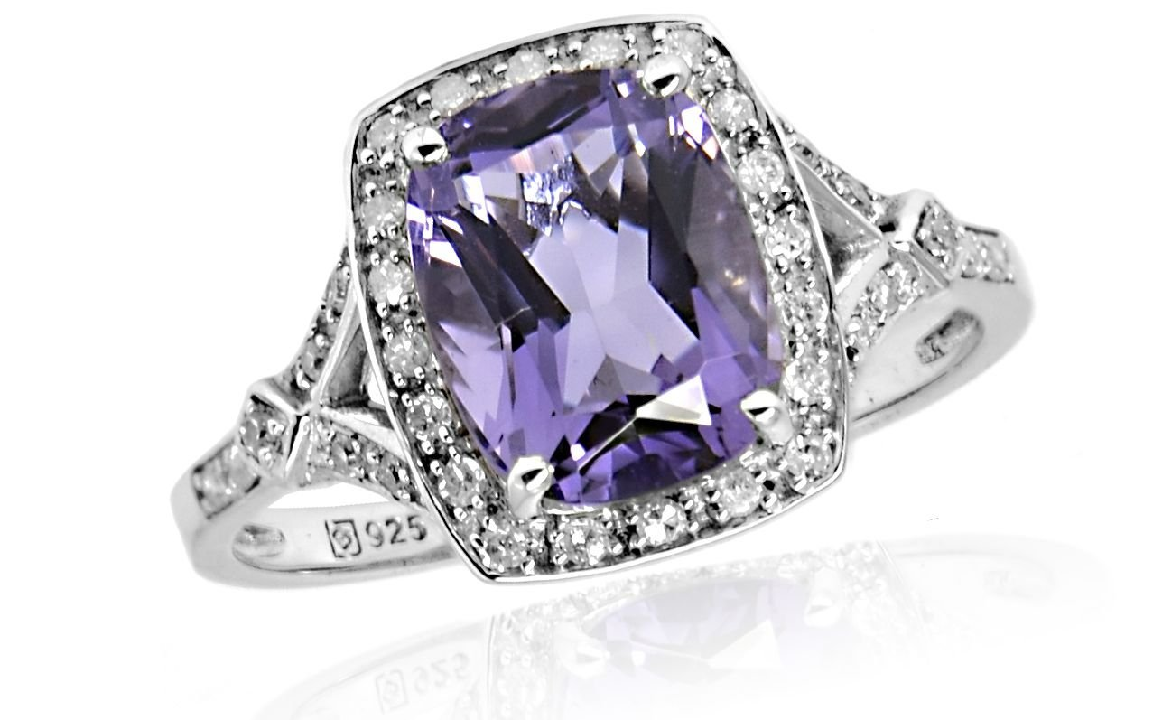 925 Sterling Silver Genuine Amethyst 0.13 ct Diamond Ring