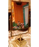 Antique Brass & Glass Make-Up-Shaving- Vanity- Mirror- Tilt-Mirror HEAVY... - $54.45