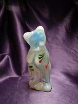 Fenton French Hand Painted Blue Toned Cat Glass Art Artist Signed - $34.65
