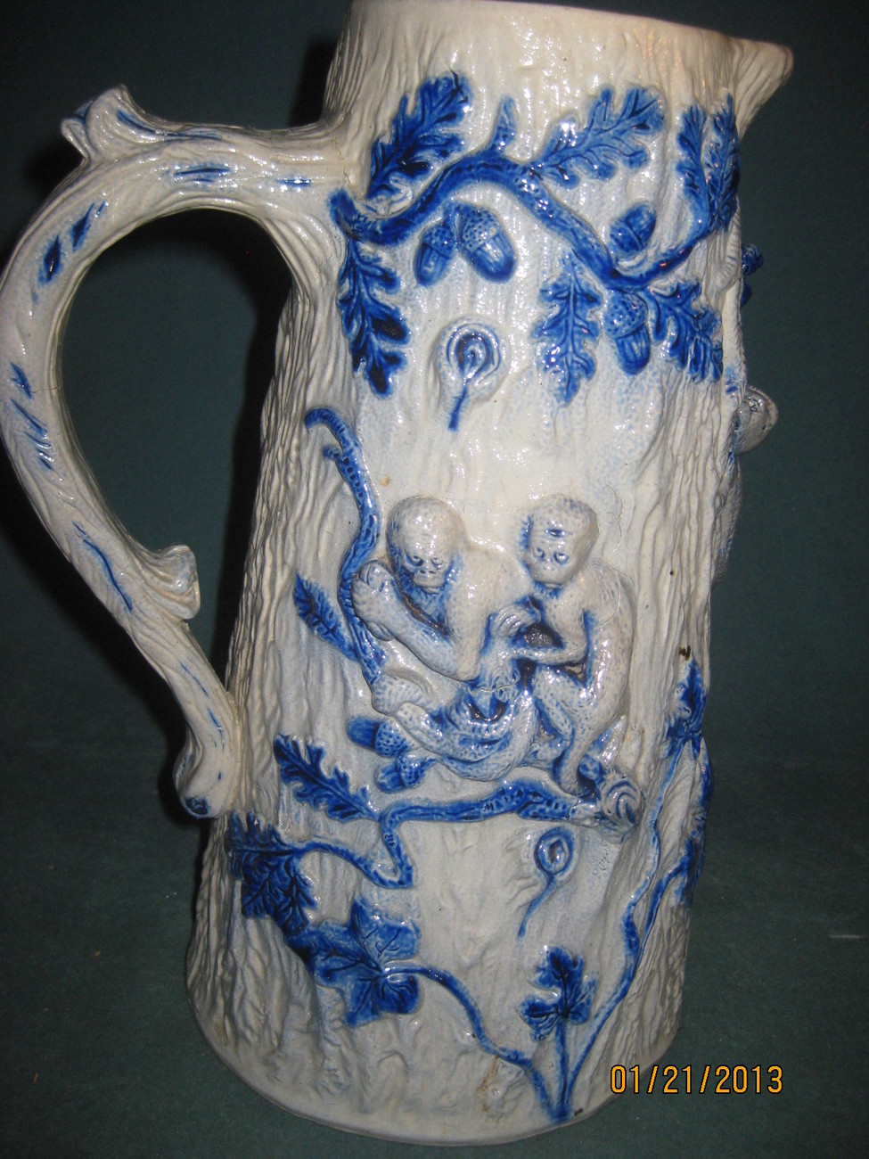 Antique Villeroy & Boch tall Picher with monkies,palm trees, and oak leaves