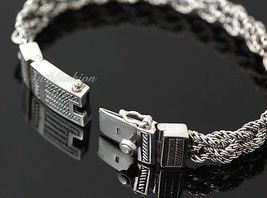 Mens Sterling Silver Bracelet Hand Crafted Woven 5 Ropes Chain Hip Hop Solid b15 image 3