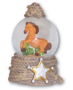 Leanin' Tree HORSE WITH SHERIFF'S STAR Water Globe