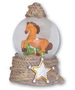 Leanin' Tree HORSE WITH SHERIFF'S STAR Water Globe - $12.00
