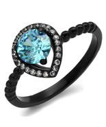 Women's Stainless Steel IP Black CZ Sea Blue 1.99(g) Engagement Ring - $14.31