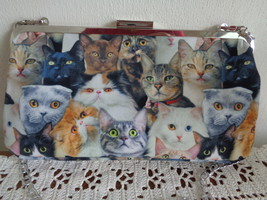 CAT LADY BOX Cat Collage Photographic Crossbody Clutch Bag Purse Chain S... - $24.99