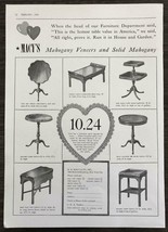 1939 Macy's Department Store NYC Print Ad Mahogany Tables Valentine's Day - $11.89