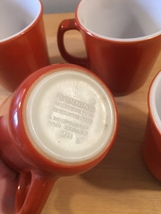 Vintage 60s set of 4 Corelle by Pyrex Burnt Orange mugs (discontinued and rare) image 3