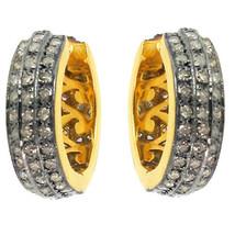 925 Sterling Silver Pave Diamond Huggie Hoop Earrings 14 K Gold Handmade... - $430.10