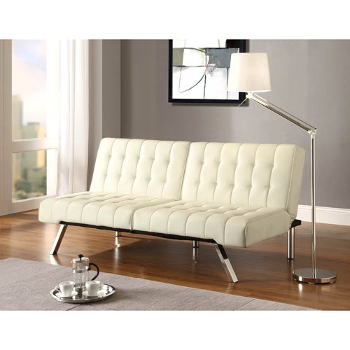 Ameriwood Emily Split Back Futon Faux Leather White Couch