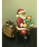 "Santa's World Gabric Mache 8"" Seated Santa Holding Girl Table Piece - $39.59"